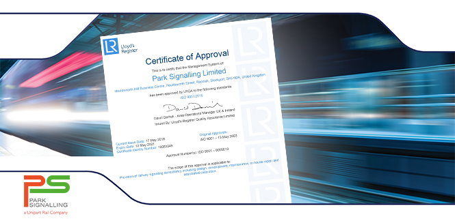 Park Signalling Achieves the latest ISO9001:2015 standards