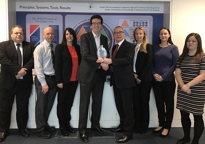 Unipart Rail presented with supplier Recognition Award by EAO